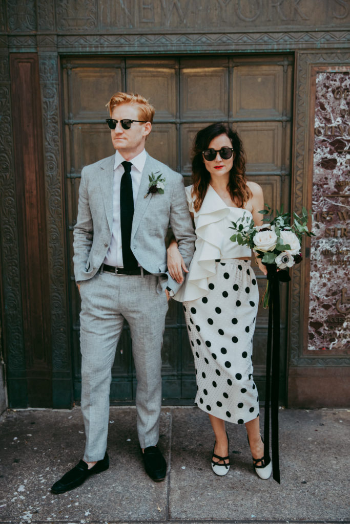 Hilary Rushford of Dean Street Society wearing vintage Chanel with bouquet by East Olivia after her city hall elopement in New York, NY