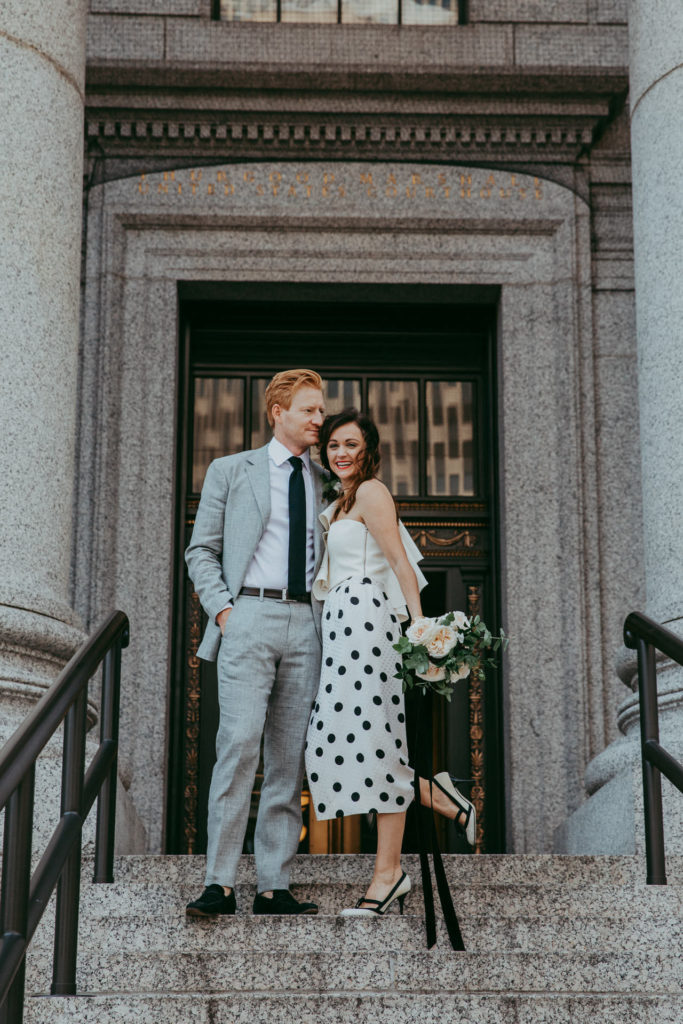 Hilary Rushford and her husband after their city hall wedding in NYC