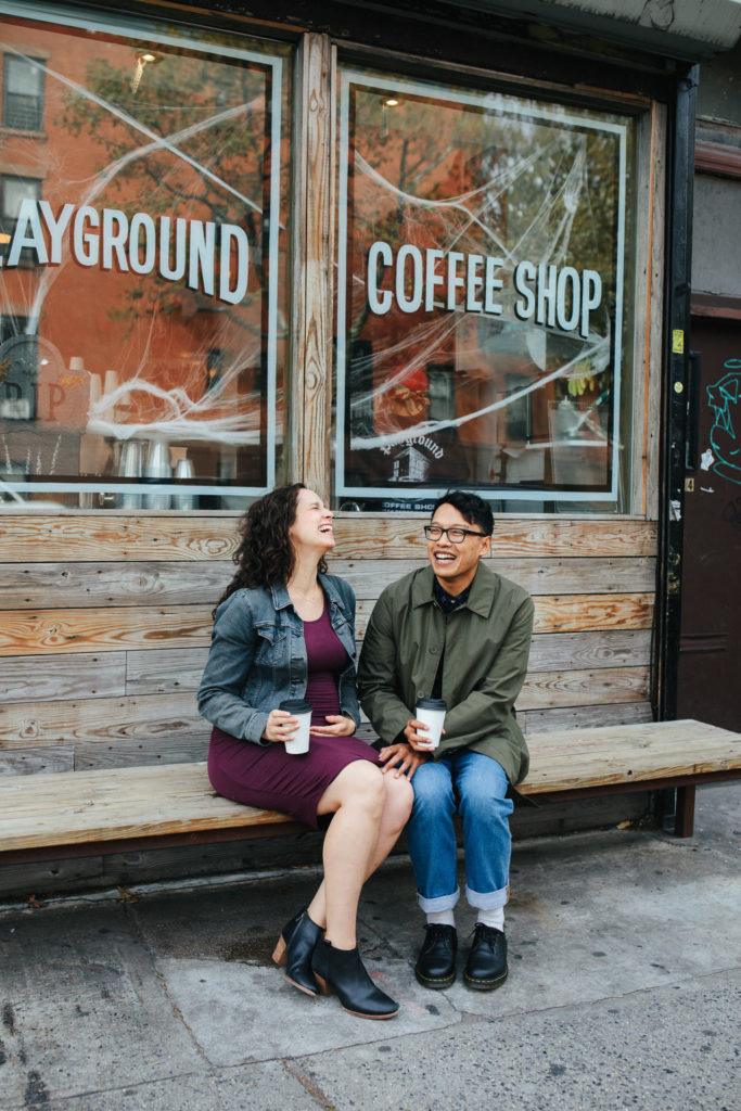 Megan and Jerome's engagement and maternity shoot at a coffee shop in Brooklyn, NY