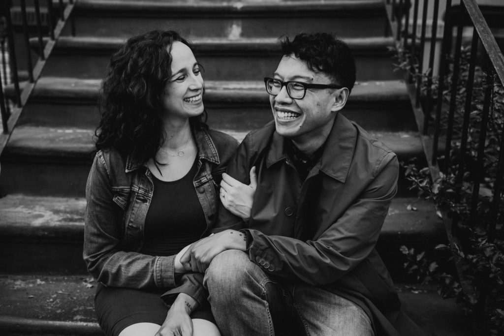 Megan and Jerome's engagement shoot on a stoop in Brooklyn, NY