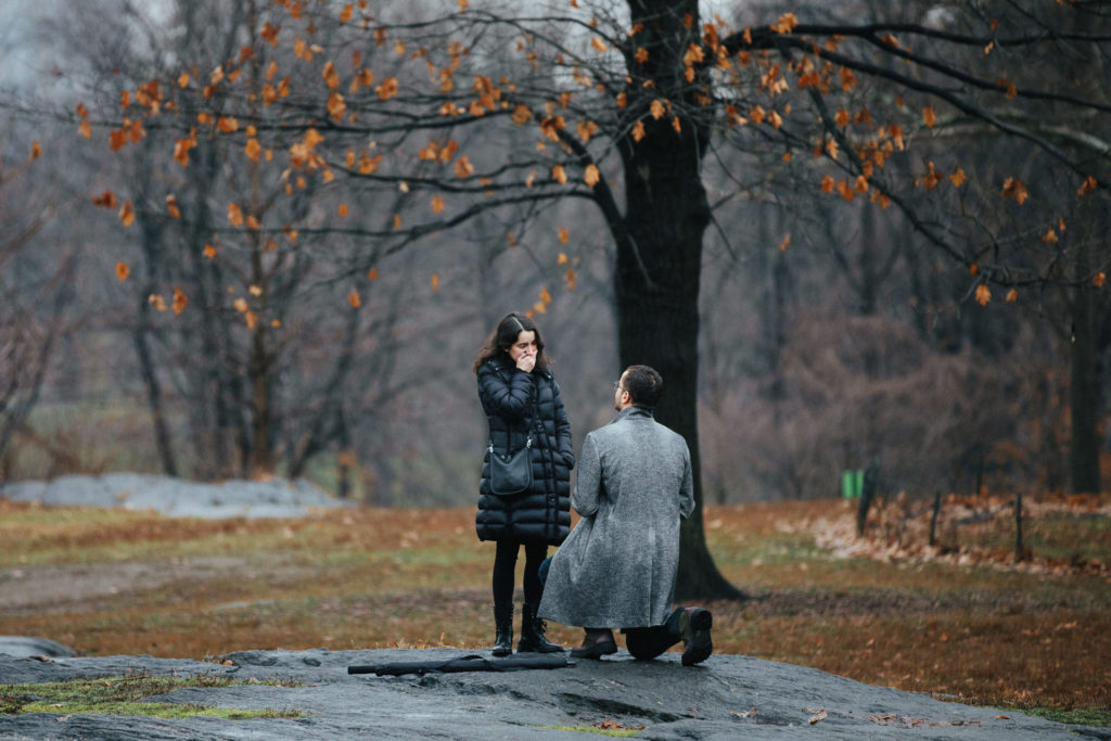Emily and Jason's surprise proposal in Central Park, NYC