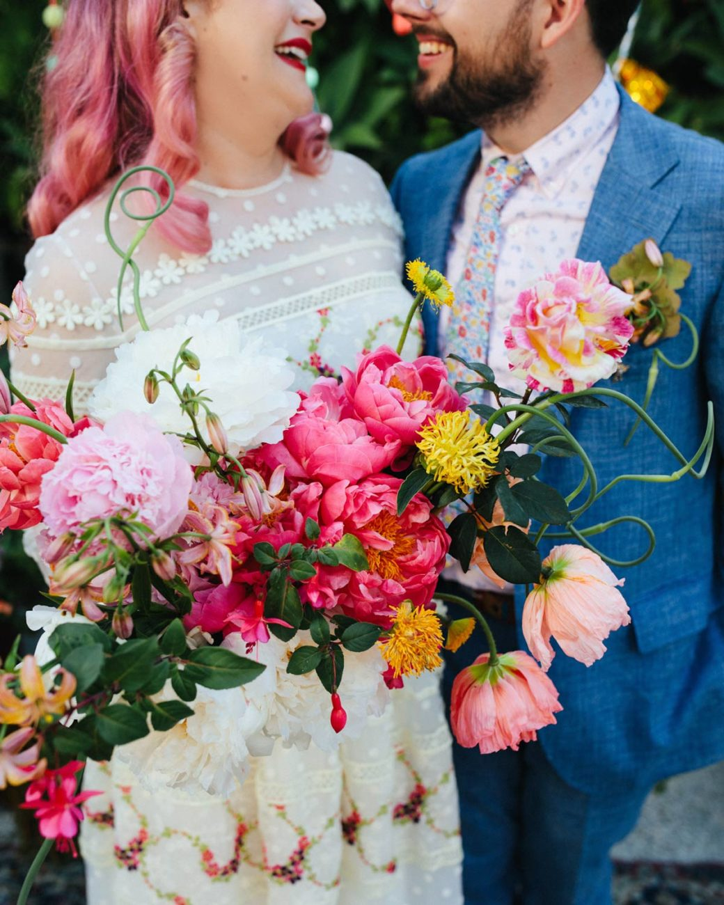 Gina and Alex wedding bouquet and pink hair at SmogShoppe in Los Angeles CA