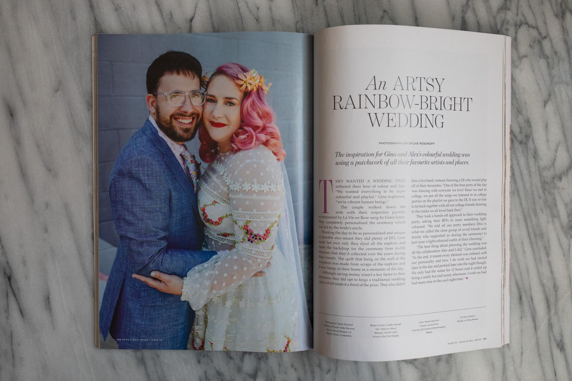 an artsy rainbow bright wedding featured in rock n roll bride magazine