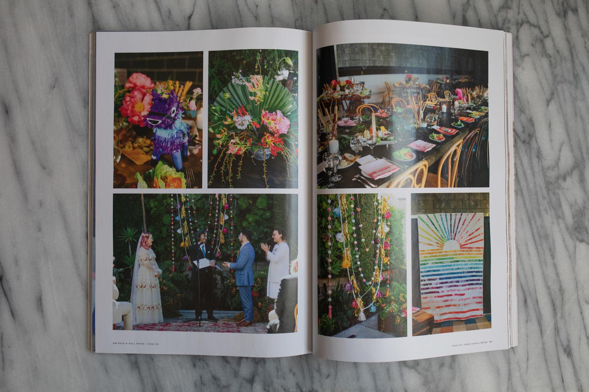spread of gina and alex LA wedding photos in uk wedding magazine