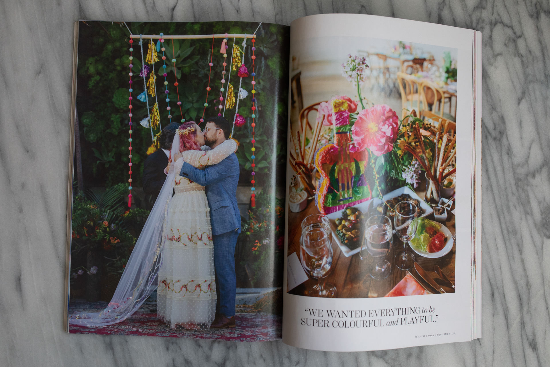 bride with pink hair real wedding spread